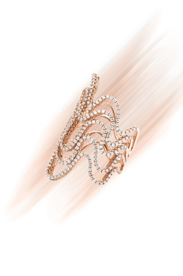 Five-Row Wave ring in 18k rose gold with 1.45 cts. t.w. diamonds,