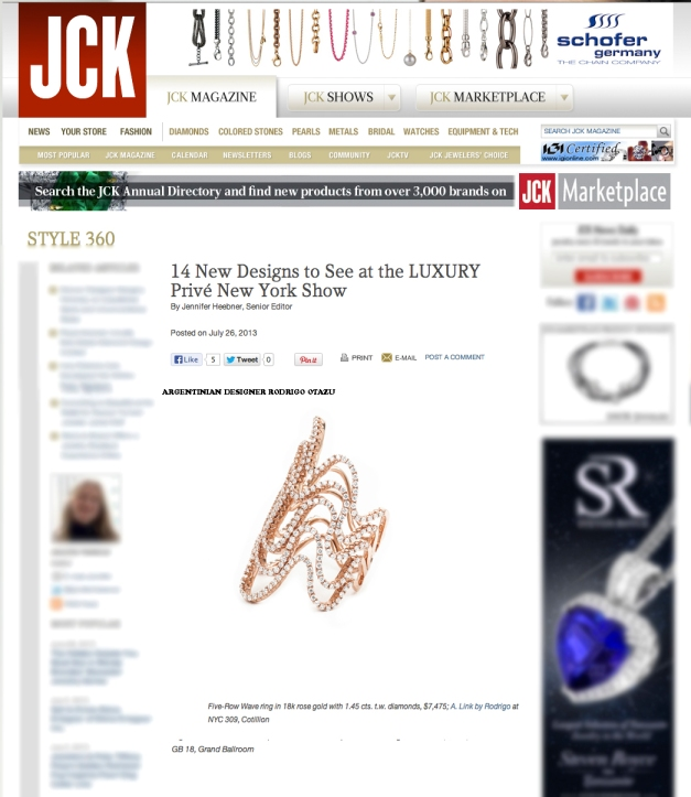 Five-Row Wave ring in 18k rose gold with 1.45 cts. t.w. diamonds, www.rodrigonewyork.com