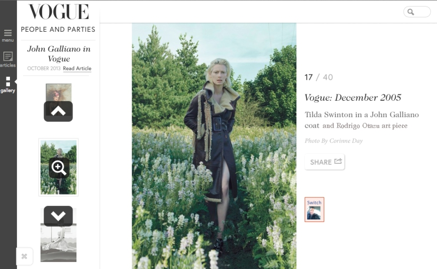 My work in super company 2 of my heroes  Galliano and Tilda Swinton Today remembering   This amazing artist  thank you Vogue xxxx RO www.rodrigonewyork.com