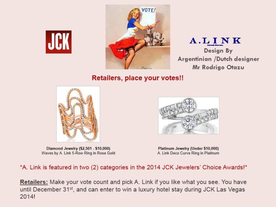 """Wow ! 2 of my diamonds designs have been chosen to win JCK """" Jewelers Choice Awards""""  but i need your help to win ! please  go to www.JewelersChoiceAwards.com and vote ! Thank you !!!!!!! Please !  Estoy muy orgulloso de que 2 de mis diseños han sido elegidos por el comité de JCK para la categoría 2014 ganador por el publico, Estoy los ayudara a entrar en un sorteo a un viaje a Las Vegas ! www.JewelersChoiceAwards.comwww.JewelersChoiceAwards.com necesito su voto ! gracias ! RO"""
