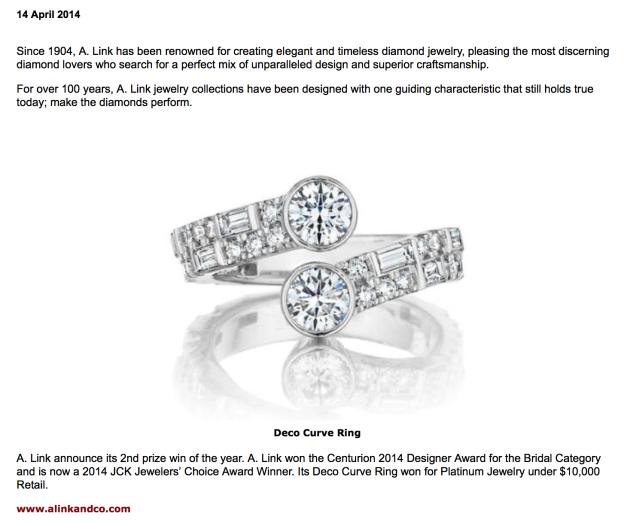 CIJ International Jewellery TRENDS & COLOURS - IN THE PRESS: Designs by Rodrigo Otazu for A. Link Wins 2014 JCK Jewelers' http://www.cijintl.com/In_The_Press-5947.html